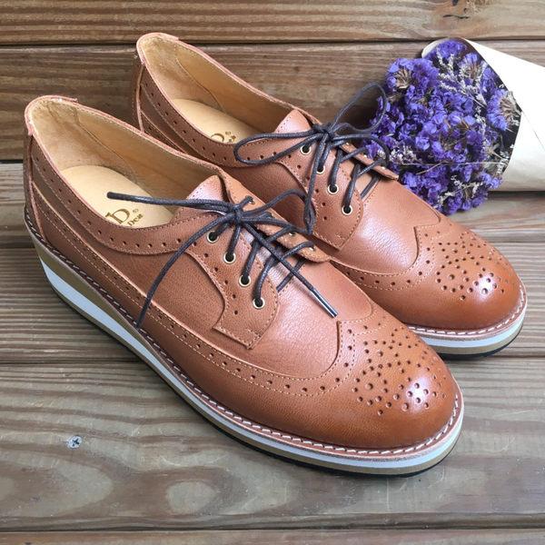 雕花鞋 台灣手工製造真皮厚底雕花皮鞋 文青 上班族 正式場合 LaoMeDea 焦臘駝色