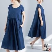 大尺碼洋裝實拍圓領套頭寬鬆顯瘦文藝復古棉麻短袖連身裙 入秋首選