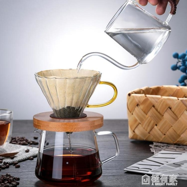 五家務玻璃咖啡壺套裝手沖咖啡滴漏式濾杯家用分茶器咖啡杯分享壺
