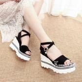 雙11狂歡坡跟涼鞋韓版夏季新款厚底楔形魚嘴鞋羅馬涼鞋鬆糕厚底女學生鞋高跟鞋女鞋