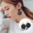 [現貨] 布藝千鳥格圓形鈕扣耳環 MISZ7049