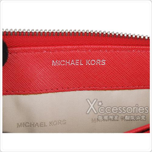 MK MICHAEL KORS JET SET TRAVEL經典銀字LOGO防刮皮革拉鍊手拿長夾(亮紅)
