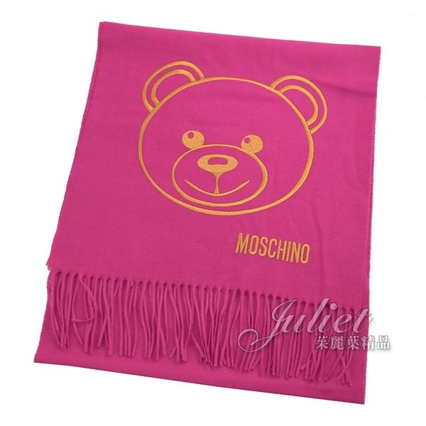 茱麗葉精品【全新現貨】MOSCHINO 30627 M2094 泰迪熊臉羔羊毛流蘇圍巾.桃