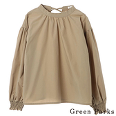 「Hot item」後蝴蝶結綁帶襯衫上衣 - Green Parks