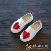 秋季男女兒童單鞋韓版女童潮鞋休閑桃心中大童平底鞋