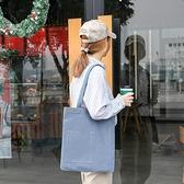 帆布手提包-純色極簡大容量休閒女單肩包8色73xb11[巴黎精品]