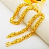 越南24k沙金雙龍頭項鍊 潮男士泰國龍骨大金鍊子扁純金色久不掉色 雙十二8折