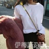 新品長袖T恤春秋新款白色t恤女長袖寬鬆韓版素色圓領內搭上衣純棉打底衫 聖誕交換禮物