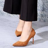 高跟鞋 新款春款女士尖頭單鞋后包鑲鑽時尚淺口鞋子《小師妹》sm2291