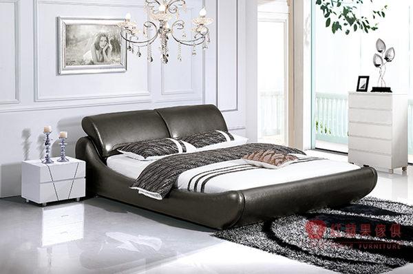 [紅蘋果傢俱] 8157 愛情海系列 品牌 5尺 雙人床台 加大床 真皮軟床 皮床 現代皮藝風 (另售6尺床架)