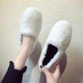 2019新款豆豆鞋女百搭加絨棉鞋瓢潮鞋秋鞋秋冬季外穿一腳蹬毛毛鞋 玫瑰