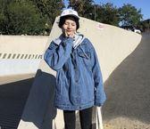 加厚加絨棉服牛仔外套女秋冬韓版學生寬鬆保暖連帽棉襖潮    瑪奇哈朵