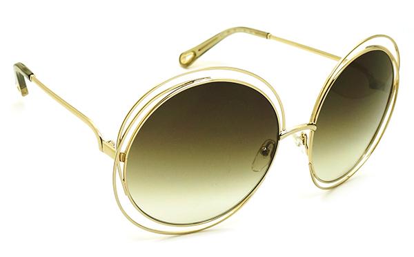 【台南 時代眼鏡 Chloé】太陽眼鏡墨鏡 CE114SD 733 62mm 大款 法國時尚 圓框墨鏡 漸層綠 金框