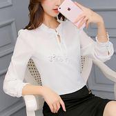 韓版雪紡襯衫女長袖白色時尚襯衣寬鬆女裝上衣 俏腳丫