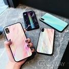 【R】極光炫彩 大理石 鐳射 鋼化玻璃背板 手機殼 蘋果 iPhone 8 plus Xs Max XR 全包邊軟殼