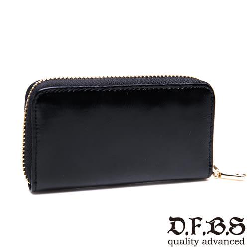 DF BAGSCHOOL皮夾 - 復古真皮款油蠟亮皮鑰匙包-黑色