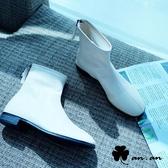 短靴 極簡原色車線圓頭低跟短靴(米)* an.an【18-C698-1mi】【現+預】