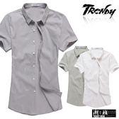 『潮段班』【SD032208】滿版線條印花立領短袖襯衫上衣