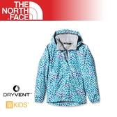 【The North Face 女童 DryVent防水外套《青藍卵石印》】CB8J/防風夾克/旅遊/防寒外套