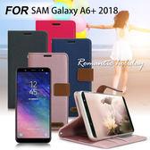 Xmart for SAMSUNG Galaxy A6+ 度假浪漫風支架皮套 四色任選 灰 桃 粉 藍