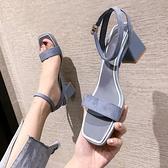 羅馬涼鞋 涼鞋女2021夏季新款網紅百搭一字帶露趾粗跟羅馬鞋法式韓版高跟鞋 薇薇