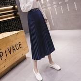 大碼女裝 半身裙~韓版絲絨壓褶百褶半身中長設計A字復古高腰顯瘦氣質垂感保暖T442A莎菲娜