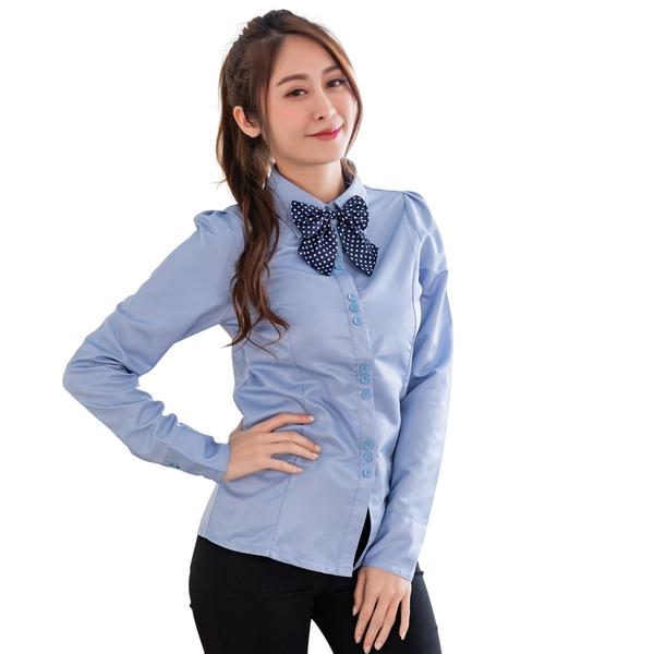 加大尺碼--可愛兼具典雅款水玉圓點點蝴蝶領結造型配釦長袖襯衫(白.藍S-3L)-I73眼圈熊中大尺碼
