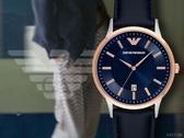 【時間道】EMPORIO ARMANI亞曼尼 經典簡約皮帶腕錶/藍面玫瑰金框深藍皮(AR11188)免運費