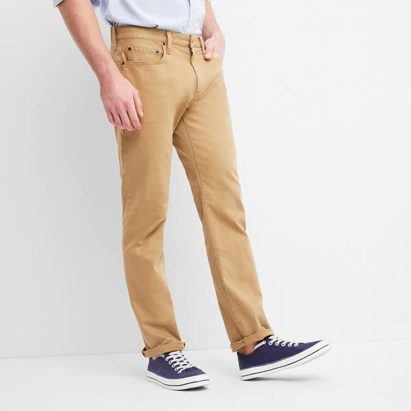 Gap男裝 基本款時尚斜紋布修身牛仔褲 720216-卡其色