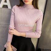 女毛衣  韓版短款半高領毛衣打底衫女長袖套頭修身顯瘦  瑪奇哈朵