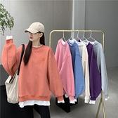 假兩件版拼接加厚加絨衛衣女 2020  韓圓領寬鬆上衣長袖外套