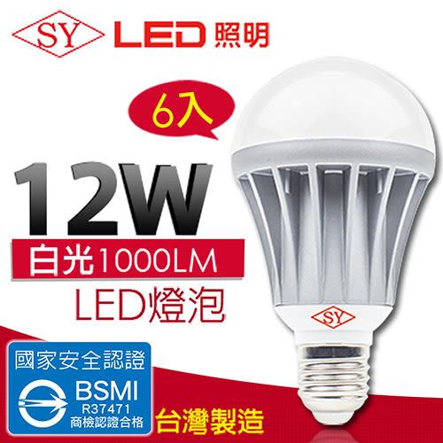 【SY 聲億科技】全電壓 LED 12W 燈泡 CNS認證 白光(6入)