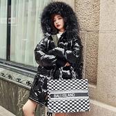 羽絨夾克-白鴨絨-連帽亮面大毛領時尚女外套73zc16【時尚巴黎】