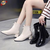 馬丁靴 白色短靴女秋冬新品前拉鏈馬丁靴女英倫風靴子高跟粗跟瘦瘦靴【交換禮物】