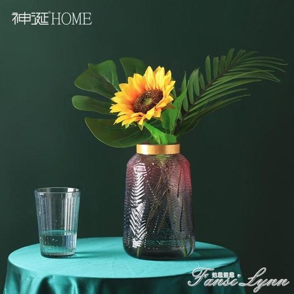 北歐風漸變色玻璃花瓶透明干花插花創意客廳水養花器餐桌裝飾擺件 范思蓮恩