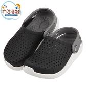 《布布童鞋》Crocs卡駱馳Literide黑色兒童布希鞋(17.5~21公分) [ V1E066D ]