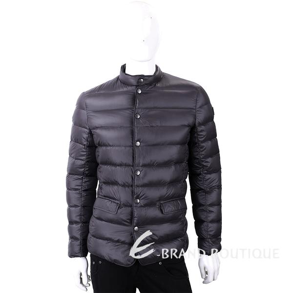 TRUSSARDI 絎縫炭黑色立領拉鍊釦式輕羽絨外套 1810261-11