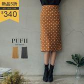 (現貨-棕S.L)PUFII-中長裙 復古點點後開衩窄裙中長裙 2色-0927 現+預 秋【ZP15242】