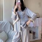 睡衣女春秋冰絲長袖長褲韓版性感蕾絲夏季網紅同款兩件家居服套裝 快速出貨