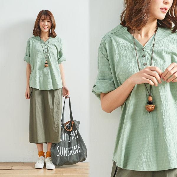 柔感水洗七分袖上衣(白/綠)-F【Gentle wind 輕輕.吹】