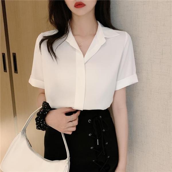 大碼胖mm雪紡襯衫女2021夏新款設計感小眾輕熟洋氣短袖職業裝上衣
