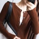 秋冬開衫女外套寬鬆韓版時尚短款圓領百搭長袖非羊絨毛衣針織打底