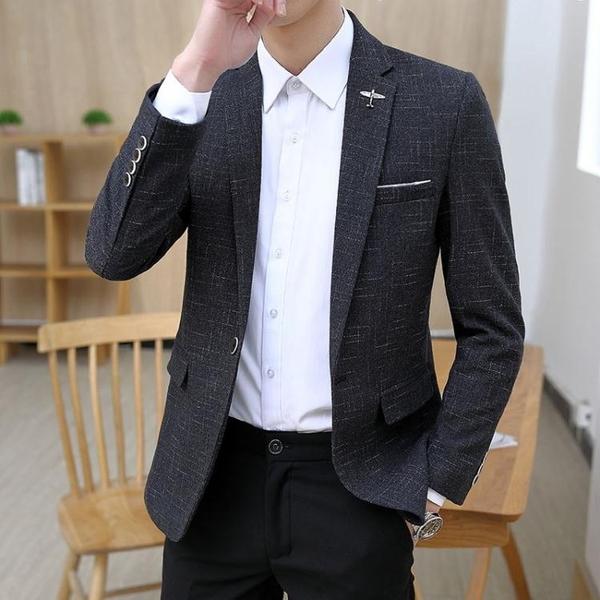 小西裝男薄款韓版修身 外套高品質休閒西服上衣 帥氣潮流秋季暗紋 雙十二全館免運