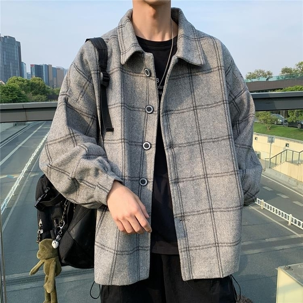 棉衣外套日系秋冬季新款毛呢格子風衣男韓版潮流ins外套港風百搭復古大衣
