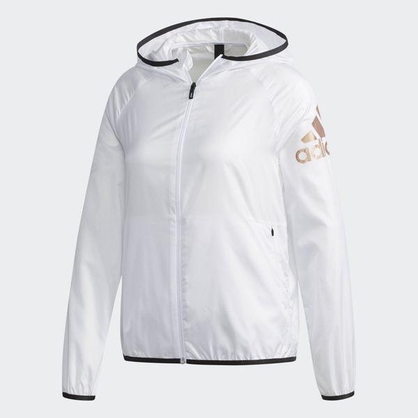 ADIDAS WB LOGO SUMMER 女裝 外套 連帽 防風 防潑水 透氣 基本款 白【運動世界】CV5519