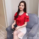 雪紡衫短袖女夏季新款韓版寬鬆V領露肩上衣百搭小衫  ciyo黛雅