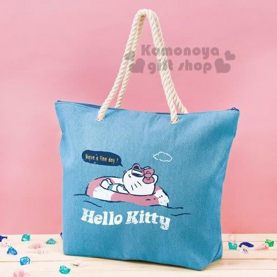 〔小禮堂〕Hello Kitty 帆布肩背袋《藍.躺姿.游泳圈》托特包.側背袋 4983164-73995