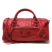 BALENCIAGA 巴黎世家 紅色山羊皮小銅釦兩用手提肩背包 機車包 Twiggy 【BRAND OFF】