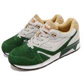 DIADORA 復古慢跑鞋 N9000 Double L 綠 灰 高級皮革 吸震 潮流時尚系列 運動鞋 男鞋【PUMP306】 DA170483C6285