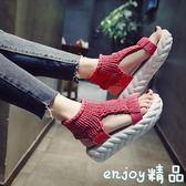 【618好康又一發】春夏季 厚底韓版新款露趾舒適毛線涼鞋